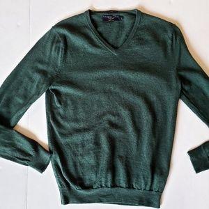 J.Crew Merino Hunter Green Slim V-neck Sweater